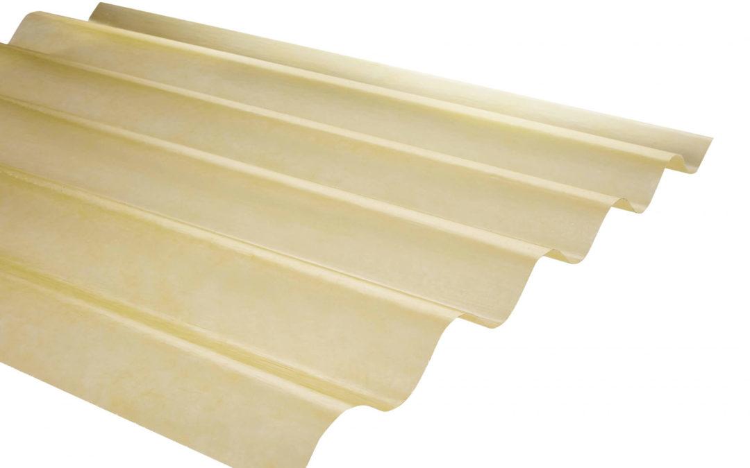 Plancha Fibra de Vidrio (FRP) Onda Zinc P5  0.92m x 1.22m x 0.5mm Amarillo