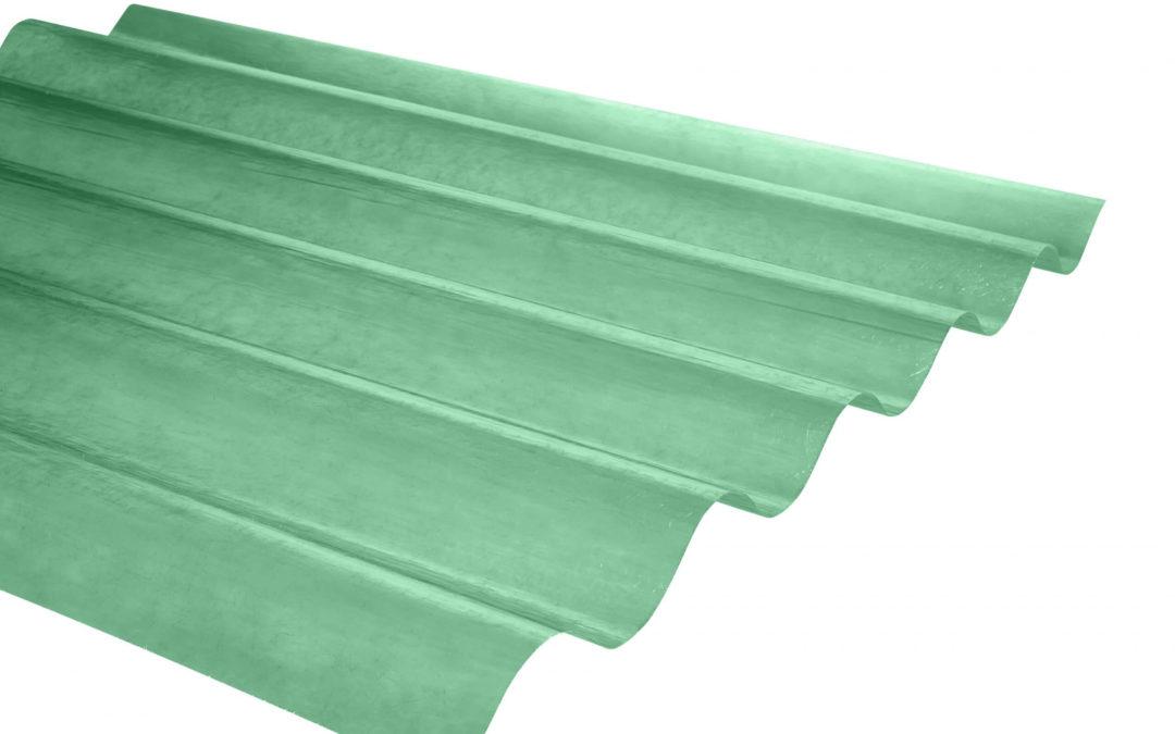 Plancha Fibra de Vidrio (FRP) Onda Zinc P5  0.92m x 1.22m x 0.5mm Verde