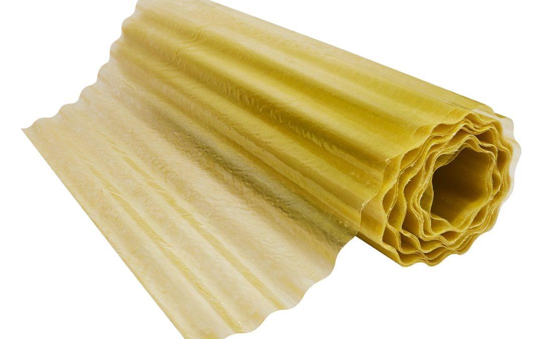 Rollo Fibra de Vidrio (FRP) Onda Zinc 1.22m x 20m x 0.5mm Amarillo