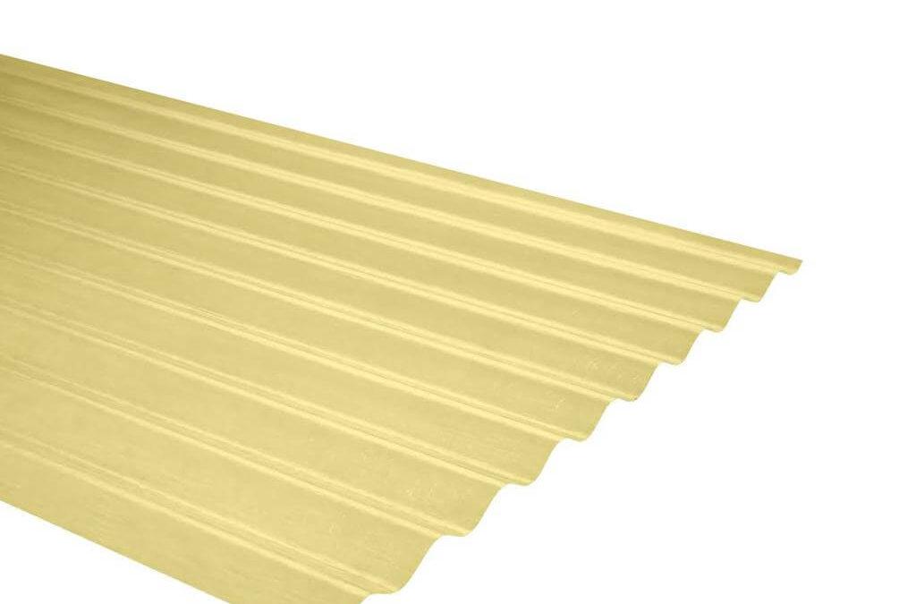 Plancha Fibra de Vidrio (FRP) Onda Zinc P9 0.91m x 1.22m x 0.5mm Amarillo