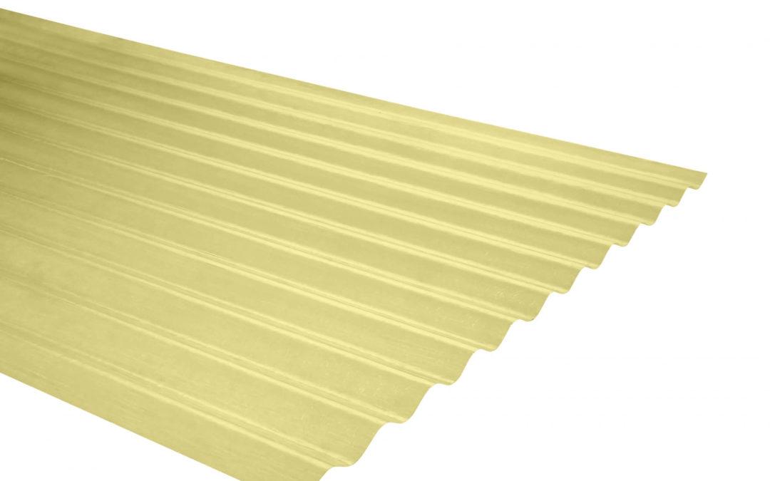 Plancha Fibra de Vidrio (FRP) Onda Zinc 0.85m x 2.00m x 0.5mm Amarillo
